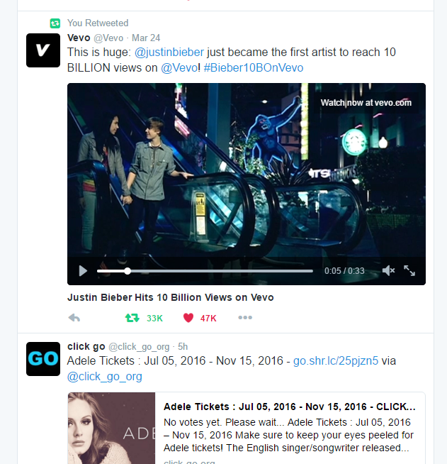 Tweet in a wordpress post - Justin Bieber in my twitter stream